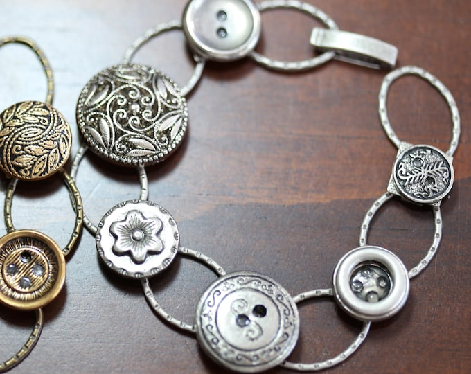 Silver and Gold Vintage Button Link Bracelets, Upcycled Silver Button Bracelet, Recycled Silver Button Bracelet, Silver Button Link Bracelet