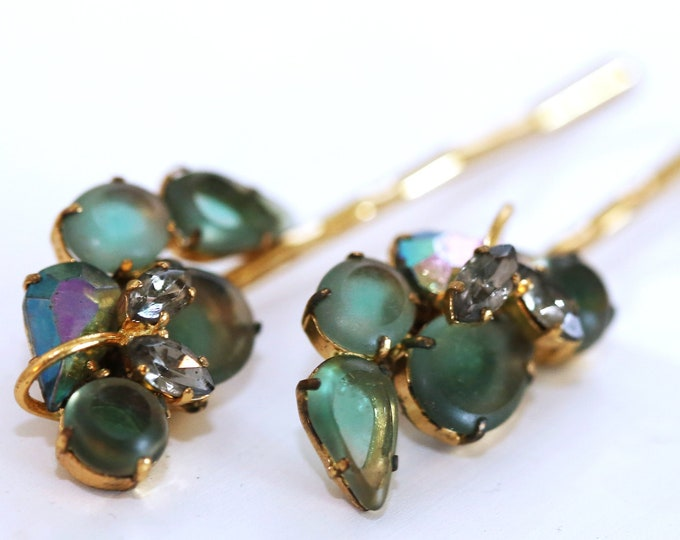 Vintage Wedding or Special Occassion Bobby Pins, Vintage Green Glass and Rhinestone Hair Accessories, Upcycled Vintage Jewelry Hair Pins