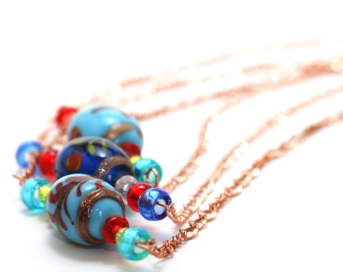 Bohemian Blue Lampwork Glass Bead Necklace, Vintage 60s and 70s Hippie Gypsy Turquoise and Navy Blue Glass Bead and Copper Folk Necklace