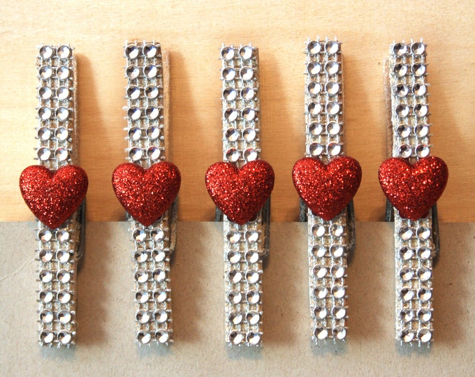 Decorative Hearts Clothespins, Clothespeg, Valentine Hearts Decor, Sparkle Refrigerator Magnets, Photo Holder, Dorm Decor, Decorative Clip