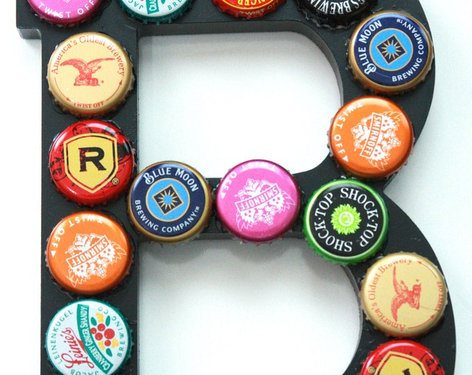 Retro Style B is for Beer Upcycled Beer Bottle Cap and Wood Letter Wall Decor, Monogram Art, Colorful Letter B Art, Recycled Monogram Decor