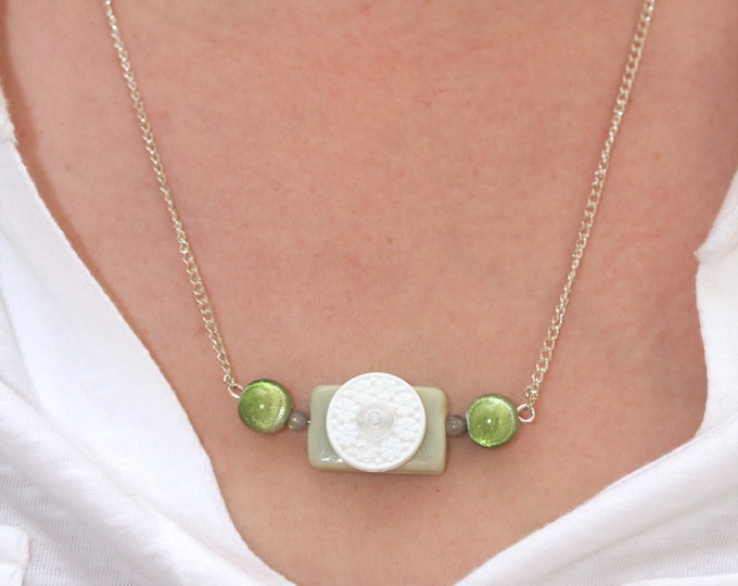 Mint Green Minimalist Bar Necklace, Mint and White Simple Beaded Necklace, White Upcycled Flower Button Necklace, Green Beaded Necklace