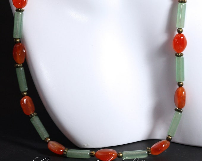 Vintage Style Hippie 60s and 70s Carnelian and Jade Gemstone Beaded Boho Necklace, Green and Orange Jade Carnelian and Brass Beaded Necklace