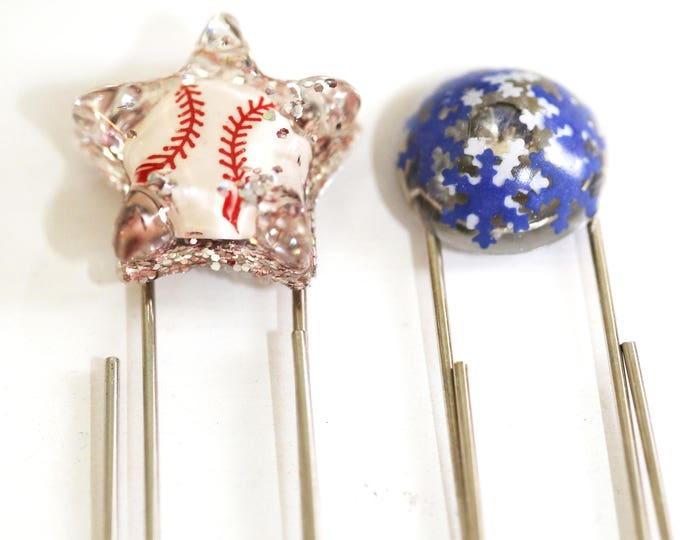 Kid Style Baseball Star and Jeweled Snowflake Resin Bookmarks, Jumbo Paperclip Bookmark, Giant Paperclip Sports and Snow Bookmarks for Kids