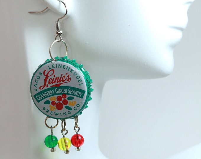 Leinie's Cranberry Shandy Festival Beerings, Upcycled Colorful Beer Bottle Cap Earrings, Green and Red Beer Bottle Cap Recycled Earrings