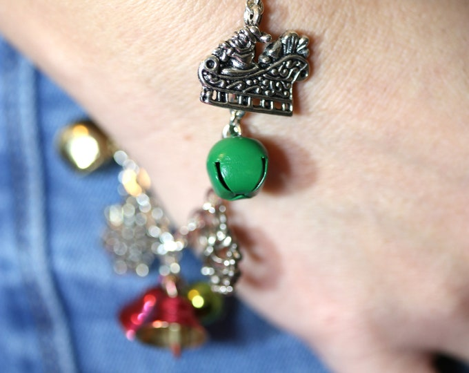 Upcycled Christmas Charm Bracelet, Jingle Bell Rock Recycled Earrings Festive Christmas Holiday Charm Bracelet, Jingle Bell Bracelet