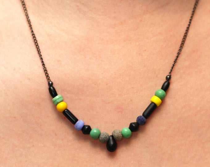Tiny Black Teardrop and Neon Colors Dainty Beaded Necklace, Matte Black Beaded Teardrop Necklace, Neon Yellow Green Beaded Layering Necklace