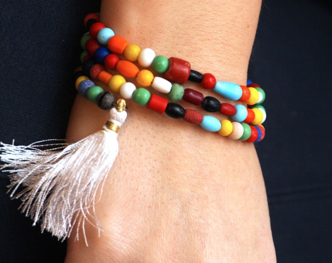 Multi Coloured Boho Fiesta Beaded Coil Bracelet with Tassel, Bold Color Beaded Bangle Wrap Bracelet, Multicolor Boho Memory Wire Bracelet
