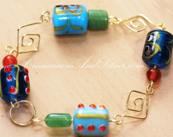 Retro Vintage 60s and 70s Blue Green and Orange Lampwork Glass Bead Link Bracelet, Unique Artisan Handmade Link Blue Bead Bracelet Gift