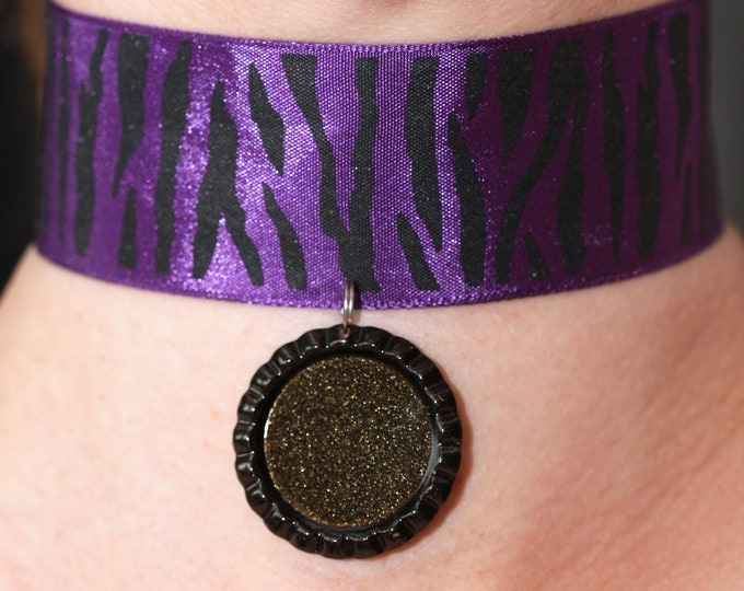 Purple Zebra Ribbon Choker Necklace with Sparkly Black Bottle Cap Pendant, Purple Ribbon Choker, Mirror Necklace, Tribal Ribbon Necklace