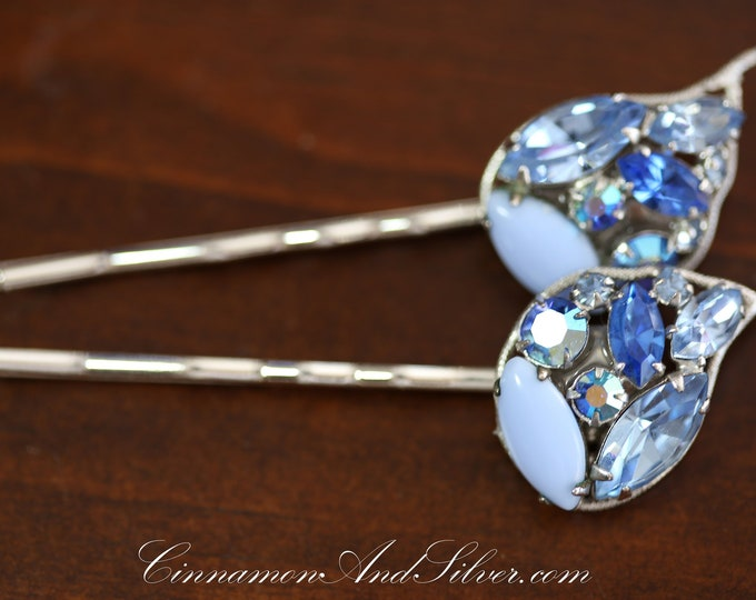 Vintage Wedding or Special Occassion Bobby Pins, Vintage Blue and Silver Rhinestone Hair Accessories, Upcycled Vintage Jewelry Hair Pins