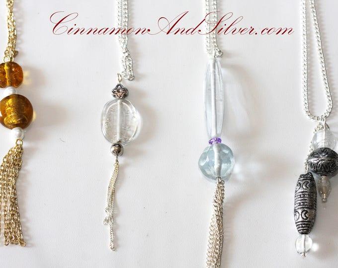 Simple Glass Bead and Tassel Pendants, Silver Tassel Pendant, Gold Tassel Pendant, Gold Vintage Pendant, Silver Vintage Pendant