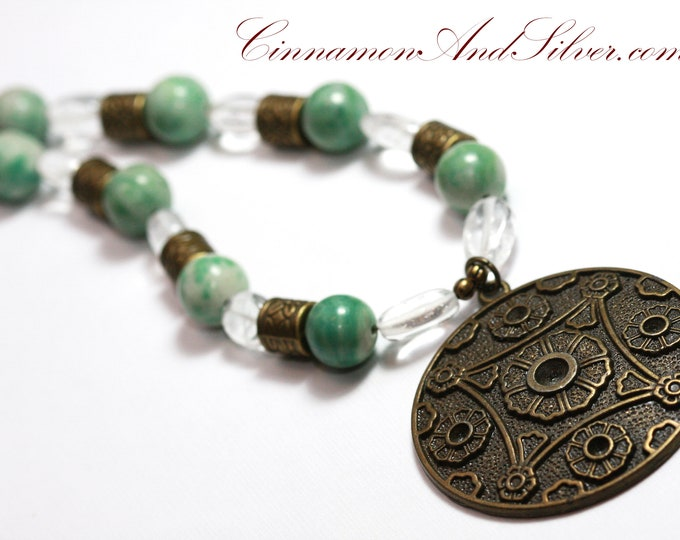 Jade and Quartz Gemstone Statement Pendant Necklace with Antiqued Bronze Floral Print, Vintage Victorian Chinese Style Green Beaded Necklace