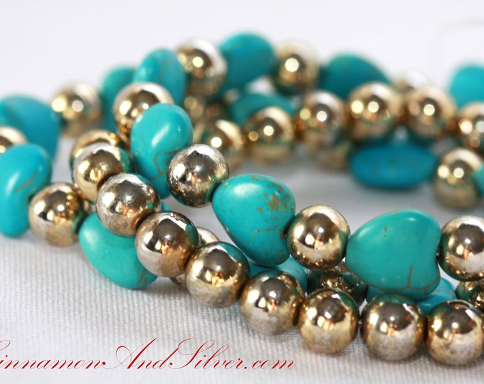 Turquoise Blue Howlite Hearts Stacking Stretch Bracelet Set of 3, Upcycled Vintage Bead and Blue Gemstone Hearts Bracelet Set