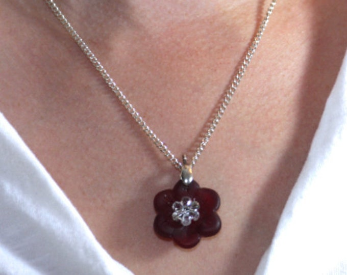 Red Opaque Sea Glass Flower Pendant, Romantic Red Glass Flower Necklace, Red Glass Flower Pendant Gift, Recycled Glass Flower Pendant