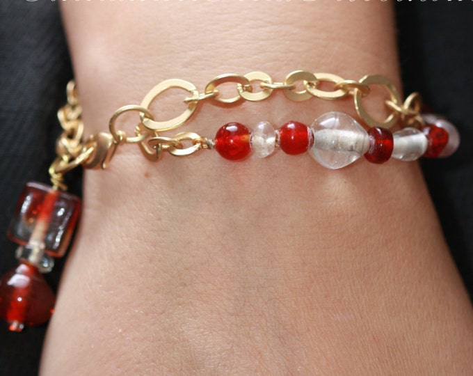 Red and Gold Glass Bead Charm Bracelet, Red Victorian Glass Bead Charm Bracelet, Red Glass Bead Christmas Bracelet