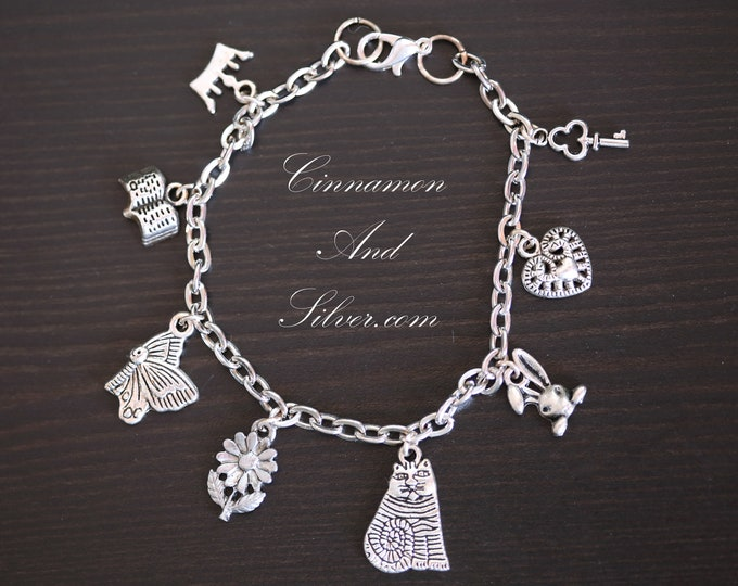 Alice in Wonderland Silver Charm Bracelet, Through the Looking Glass Silver Charm Bracelet, Classic Book Charm Bracelet,