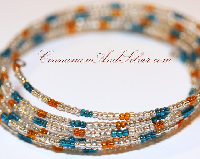 Boho Blue Orange Hippie Seed Bead Coil Bracelet, Tropical Bangle Memory Wire Bracelet, Multicolor Coil Wrap Seed Bead Bracelet