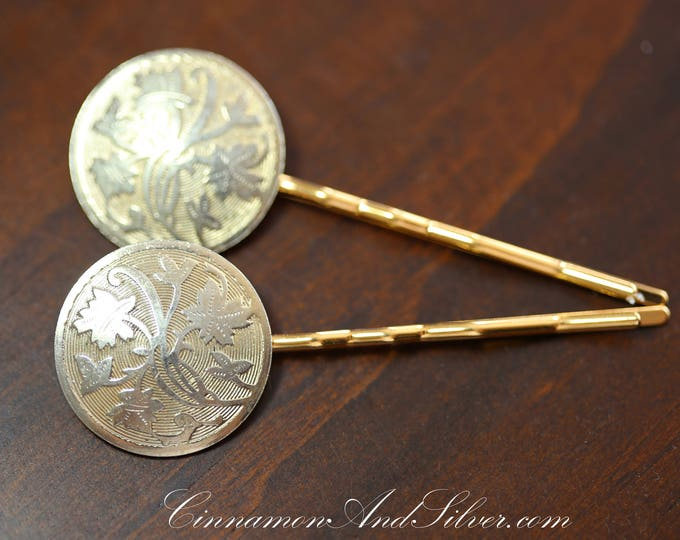 Vintage Wedding or Special Occassion Bobby Pins, Vintage Floral Medallion Hair Accessories, Upcycled Vintage Jewelry Hair Pins