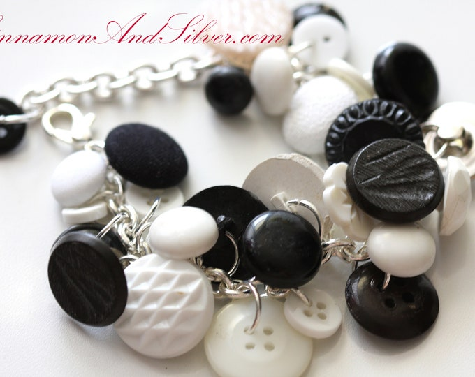Upcycled Black and White Vintage Button Bracelet, Classic Black and White Vintage Buttons, Black and White Button Charm Bracelet