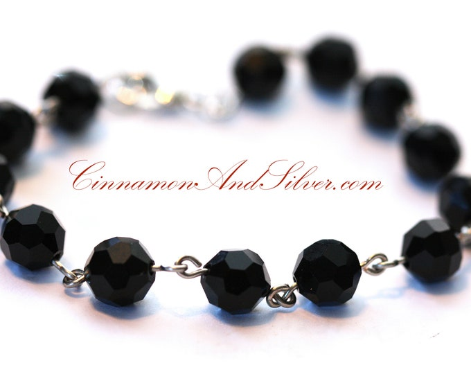 Black Jet Faceted Glass Vintage Victorian Beaded Bracelet, Black Jet Linked Beaded Bracelet, Christmas Beaded Black Jet Bracelet