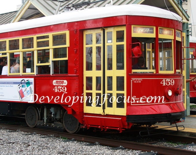 Red New Orleans Trolley Car Photograph Download, New Orleans Street Trolley Car Photography, Downtown New Orleans Photo, Red City Trolley