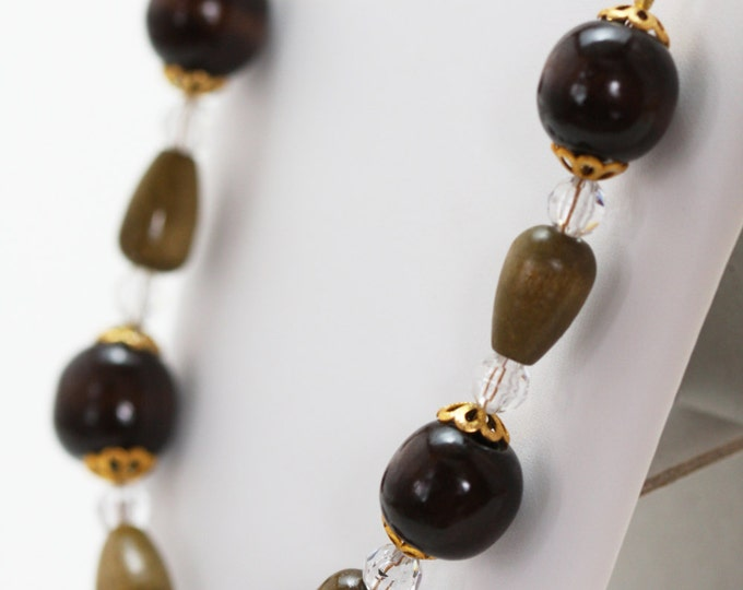 Vintage Victorian Brown and Gold Wood Beaded Necklace, Brown Wood and Acrylic Victorian Necklace, Brown Wood Beaded Lightweight Jewellery