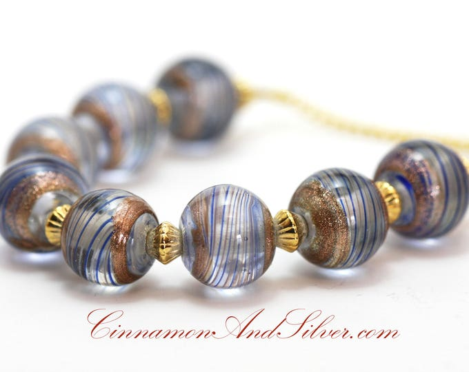 Vintage Style Nautical Striped Blue and Gold Glass Bead Sparkle Necklace, Blue Striped Sailor Beaded Necklace, Gold and Blue Bead Necklace