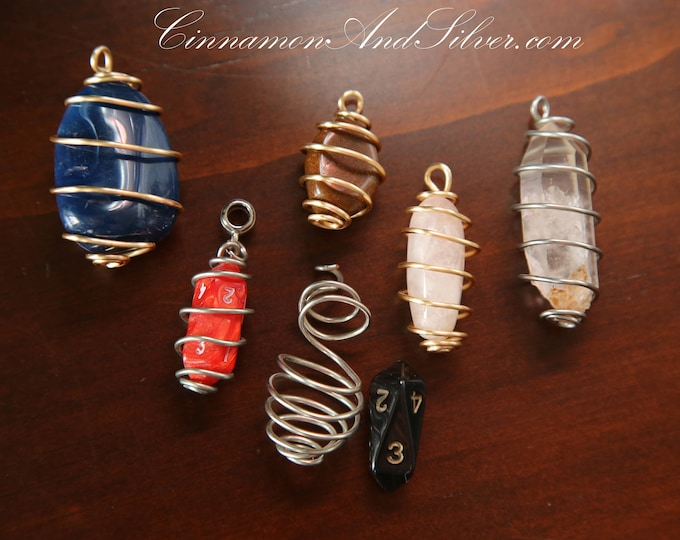 Retro Boho Unisex Wire Wrapped Crystals, Crystal Wire Wrapped Cages, Caged Crystal Pendants, Crystal Charm, Crystal Keychain, Caged Crystals