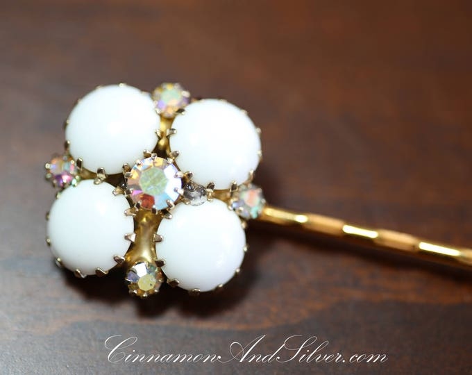 Vintage Wedding or Special Occassion Bobby Pin, Vintage Rhinestone and White Glass Hair Accessories, Upcycled Vintage Jewelry Hair Pins