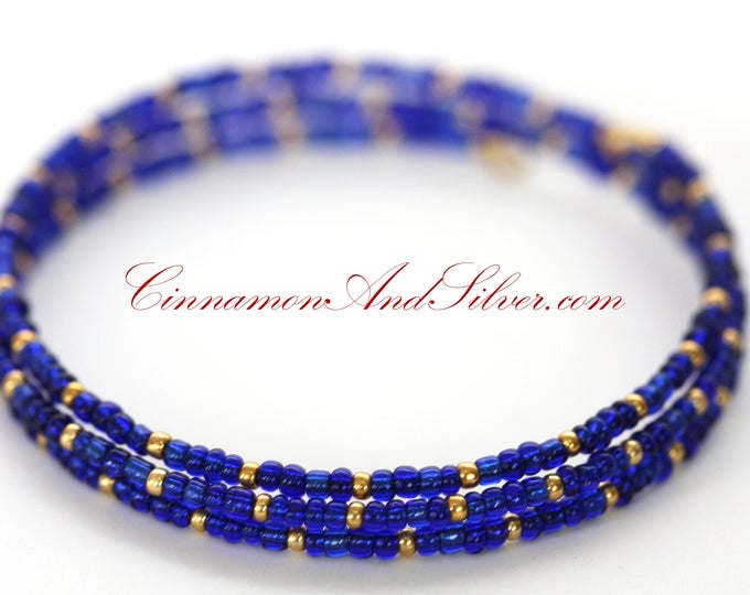 Cobalt Blue and Gold Boho Seed Bead Adjustable Memory Wire Bangle Wrap Bracelet, Vintage Egyptian Blue Coil Wrap Seed Bead Bracelet