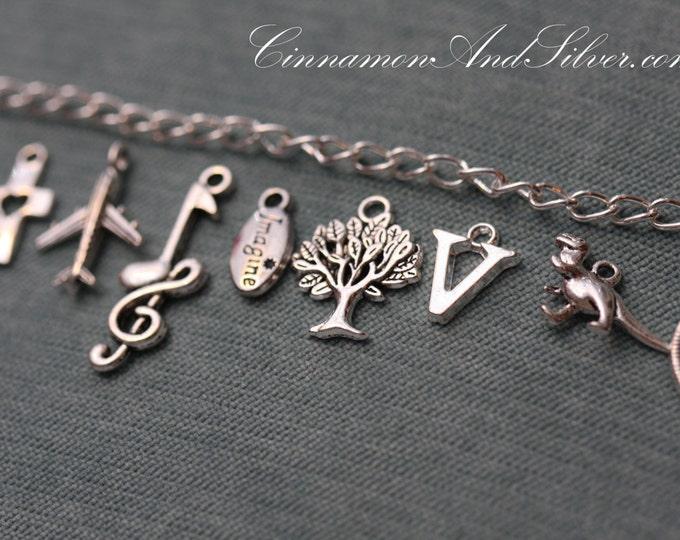 Custom Charm Bracelet, Silver Tone Custom Charm Bracelet, Personalized Silver Charm Bracelet, Custom Romantic Charm Bracelet, Custom Jewelry