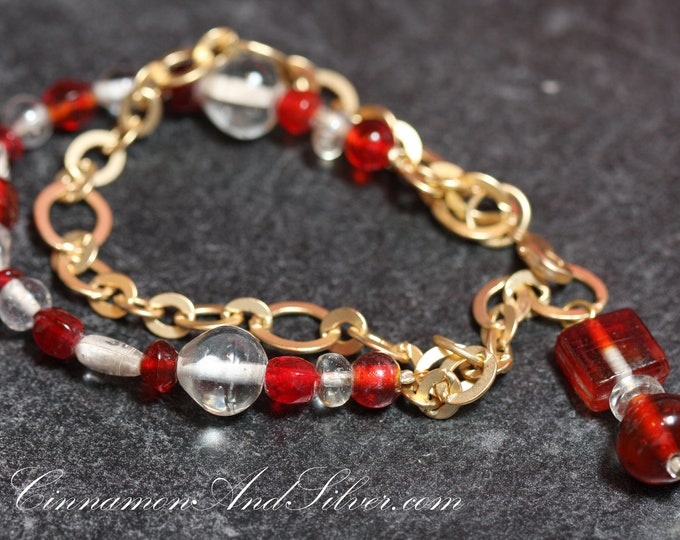 Vintage Victorian Red and Satin Gold Glass Bead Christmas Chain 2-Strand Bracelet, Red Striped Glass Bead Christmas Bracelet for Her