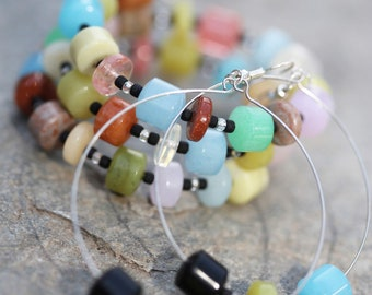 Clay /& Black Lava Stone Beads Teen Girl Gift Colorful Chain Earrings with Blue Glass Prom Birthday Spring Summer Casual Flower Earrings