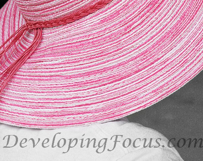 Pink Straw Floppy Hat Photography Print or Invitation, Pink Hat Photography Print Art, Instant Download Photography Art Print