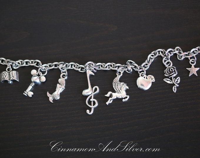 Disney Films Magical Silver Charm Bracelet, Walt Disney World Silver Charm Bracelet, Disney Musical Charm Bracelet,