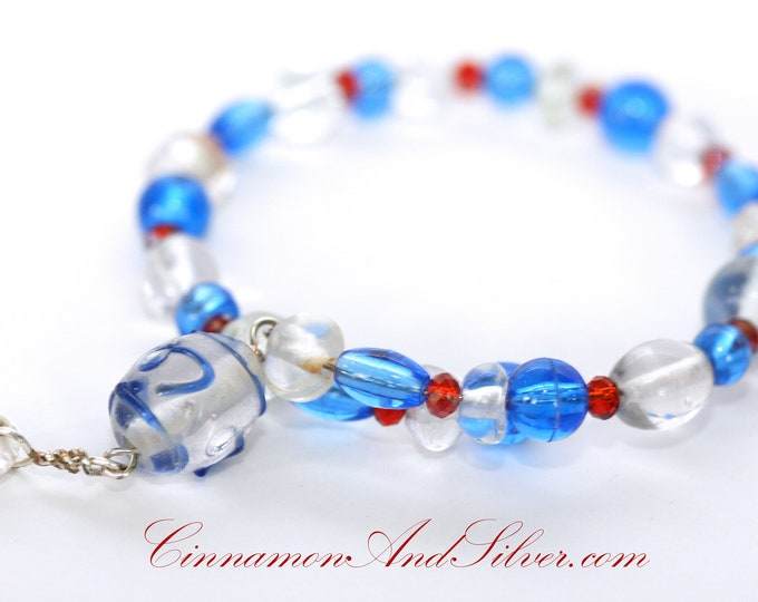 July 4th Red, White, and Blue Beaded Adjustable Memory Wire Bangle Bracelet, Patriotic Colors Coil Wrap Seed Bead Bracelet