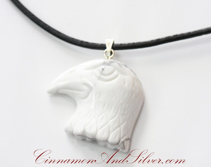 White Howlite Stone Carved Eagle Head Leather Necklace, White Bird Gemstone Necklace, Simple Bald Eagle Necklace, Animal Totem Necklace