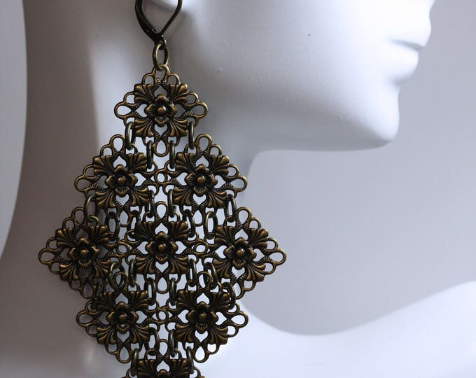 Antiqued Brass Shaky Chandelier Filigree Statement Earrings, Handmade Victorian Vintage Steampunk Filigree Statement Earrings