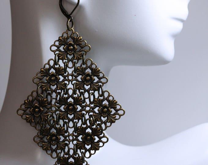 Antiqued Bronze Shaky Chandelier Filigree Statement Earrings, Handmade Victorian Vintage Steampunk Filigree Statement Earrings