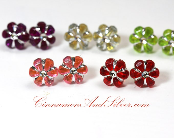 Sparkle Flower Stud Earrings for Girls, Colorful Flower Post Earrings, Multicolor Flower Stud Earrings, Pretty Flower Stud Earrings