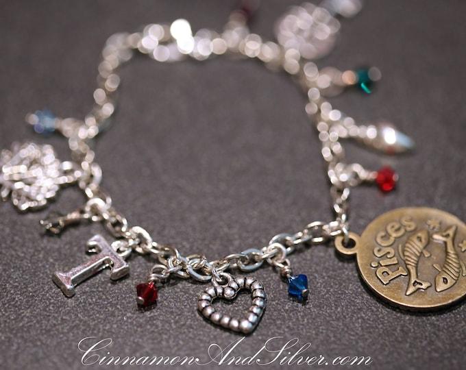 Choose a Charm Custom Charm Bracelet, Vintage Style Personalized Silver Charm Bracelet, Custom Gift Charm Bracelet Jewelry