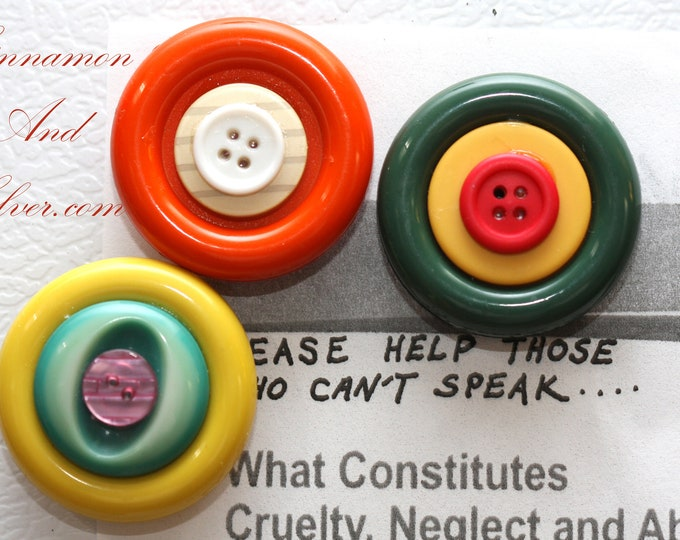 Vintage Button Magnets, Bright Large Recycled Button Refridgerator Magnets, Fridge Magnets, Bright Magnet Set, Colorful Button Magnets