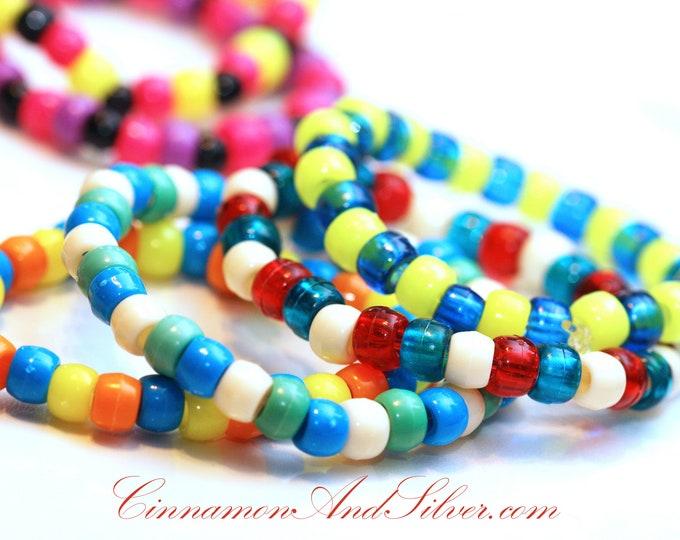Multicolor Stretch Plastic Pony Bead Bracelets Set of 3, Pony Bead Rave Kandi Bracelets, Colorful Hippie Bead Stretch Bracelets