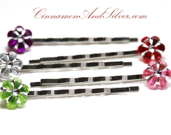Colorful Flower Bobby Pins, Sparkle Flower Hair Accessories for Girls, Multicoloured Flower Hair Jewelry, Multicolored Flower Hair Pins