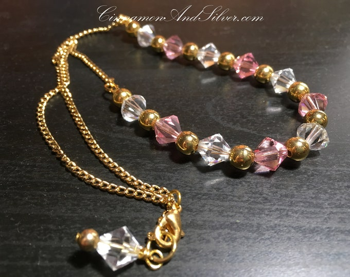 Vintage Victorian Pink and Clear Glass Crystal Necklace, Perfectly Pink Prom Beaded Necklace, Recycled Pink and Gold Crystal Beaded Necklace