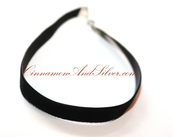 Black Velvet Ribbon Romantic Ribbon Choker Necklace, Simple Black Velvet Choker Necklace, Black Velvet Gothic Choker Necklace