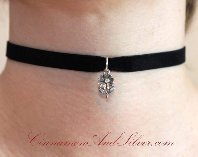 Black Velvet Ribbon with Pewter Daisy Flower Charm Choker Necklace, Happy Daisy Flower Ribbon Choker Necklace, Silver Flower Choker Necklace