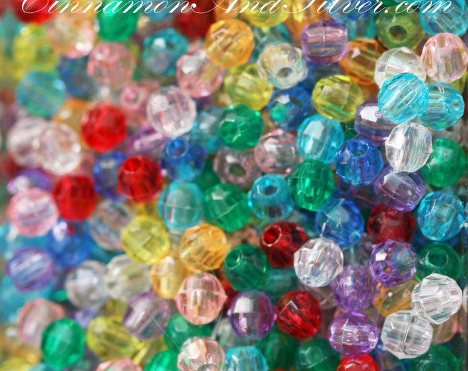 50 Pack Multicolored Variety Jewel Tone Small Faceted Round Plastic Beads for Jewelry Crafts, 4mm by The Beadery