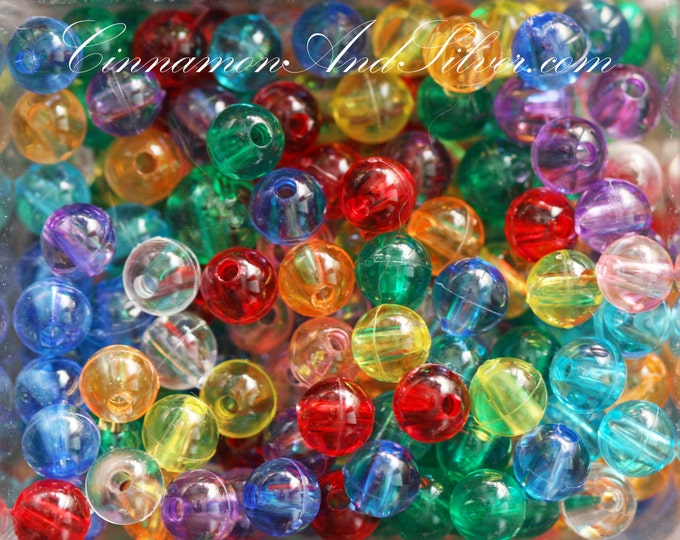 40 Pack Multicolored Variety Transparent Jewel Tone Small Round Ball Plastic Spacer Beads for Jewelry Crafts, 5mm by The Beadery, USA